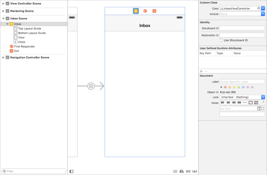 screenshot of LLInboxViewController in a storyboard