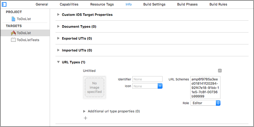 Configure test mode URL scheme in Project Settings